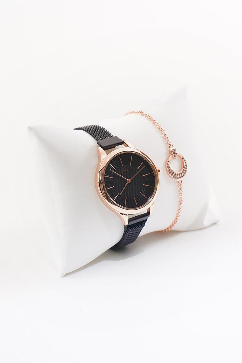 Hasır Siyah Kordonlu Saat & Ay Yıldızlı Bileklik Seti