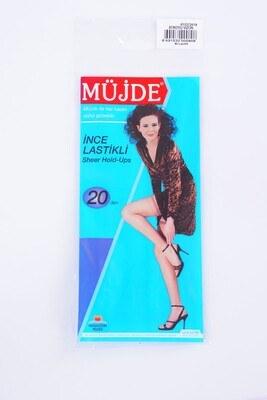 İnce Lastikli 20 Den Koyu Vizon Diz Üstü Çorap - Thumbnail
