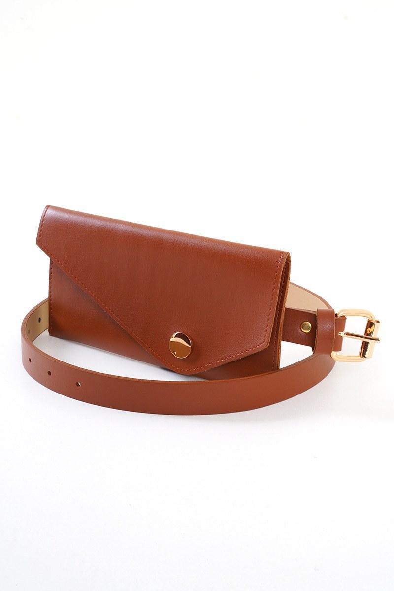 Kadın Taba Mini Çantalı Kemer