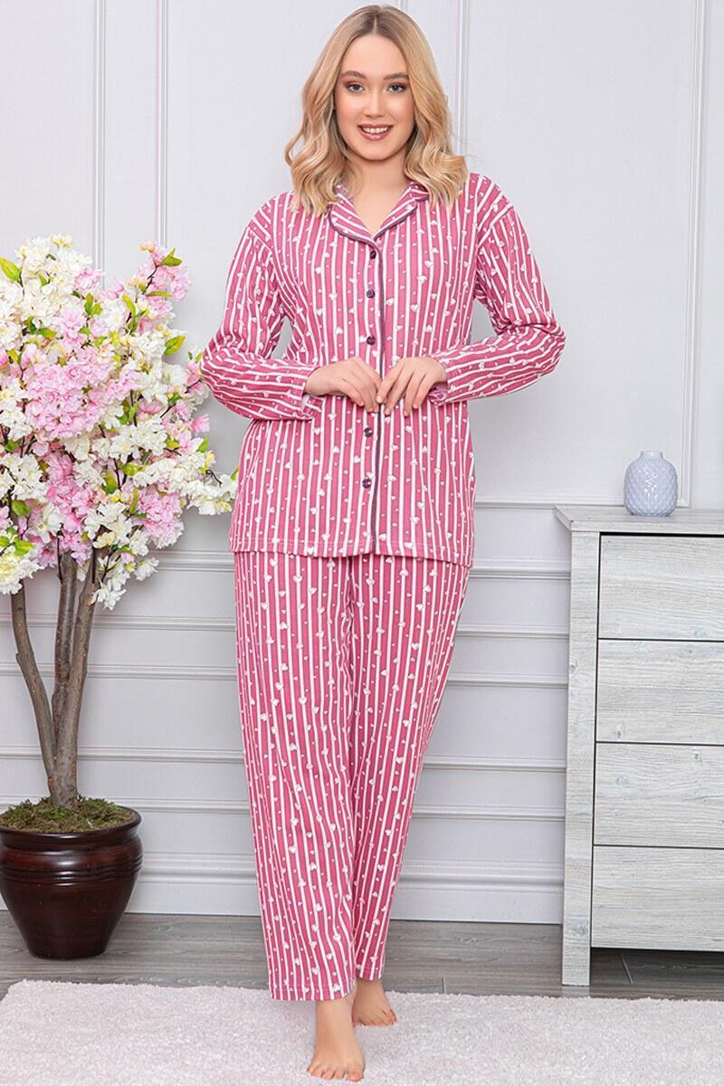 Kalp Desenli Boydan Düğmeli Fuşya Pijama Takımı