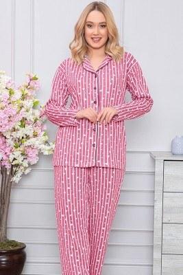 Kalp Desenli Boydan Düğmeli Fuşya Pijama Takımı - Thumbnail