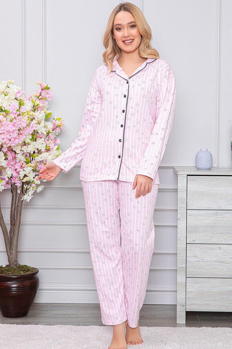 Kalp Desenli Boydan Düğmeli Pembe Pijama Takımı