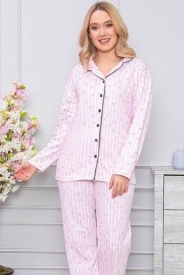 Kalp Desenli Boydan Düğmeli Pembe Pijama Takımı - Thumbnail