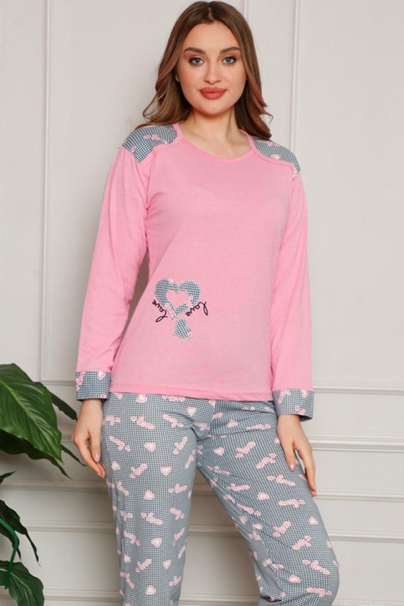 Kalp Desenli Pudra Pijama Takımı