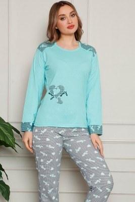Kalp Desenli Mint Yeşili Pijama Takımı - Thumbnail