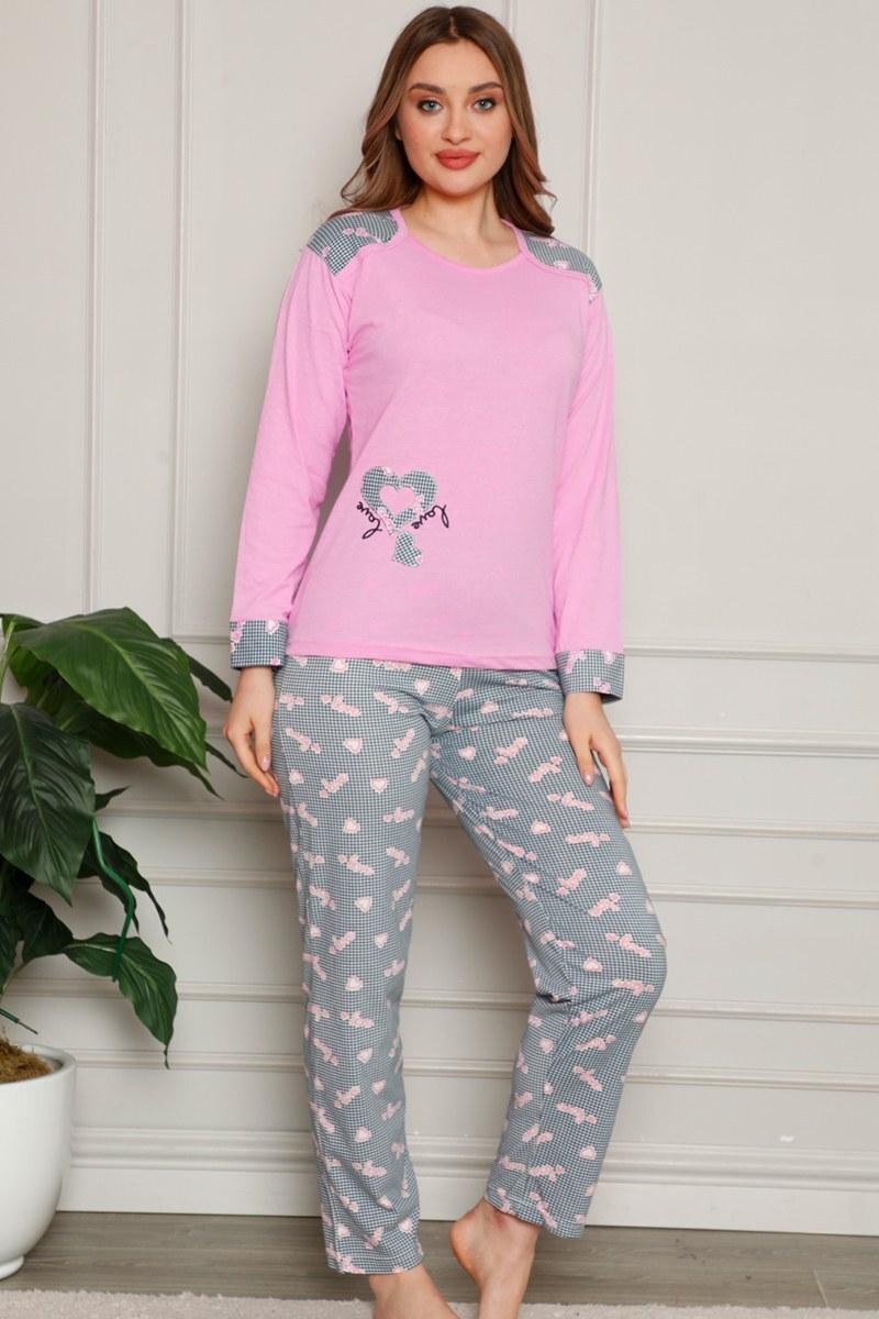 Kalp Desenli Pembe Pijama Takımı