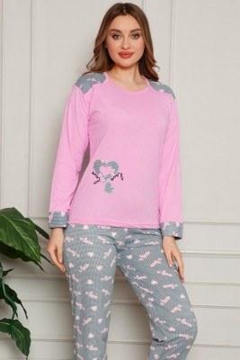Kalp Desenli Pembe Pijama Takımı - Thumbnail