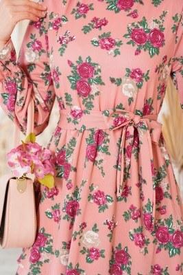 Katlı Kuşaklı Gül Kurusu Elbise - Thumbnail