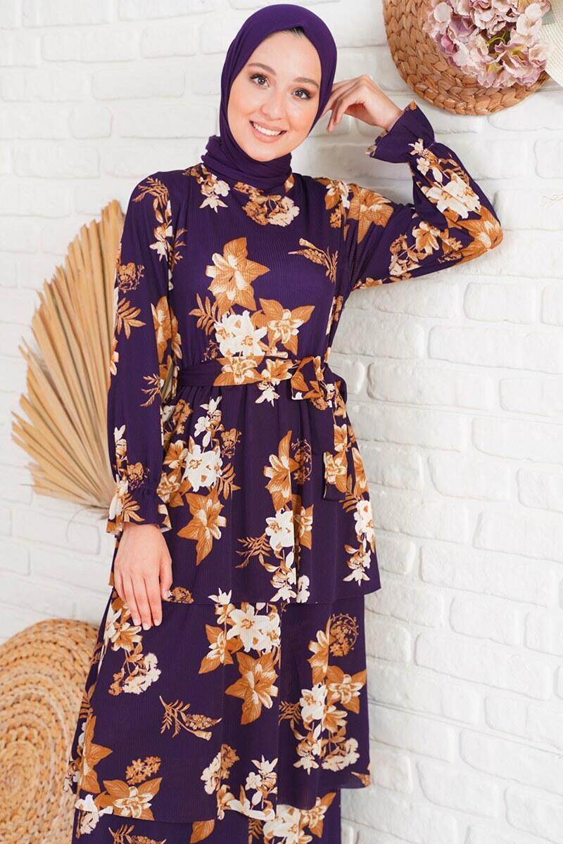 Katlı Kuşaklı Mor Elbise