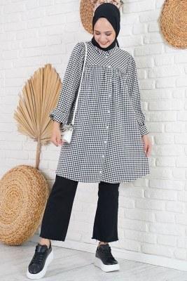 Klasik Yakalı Mini Kare Desen Siyah Gömlek Tunik - Thumbnail