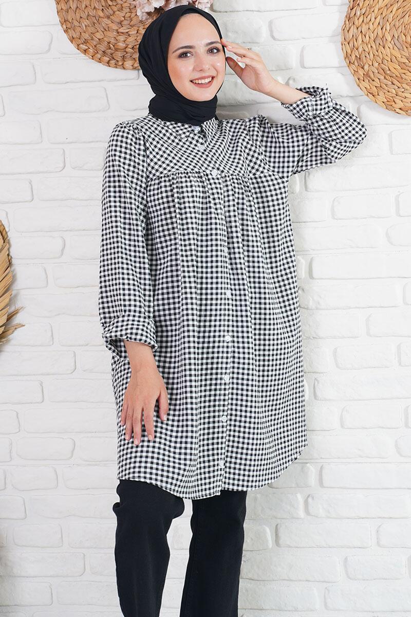 Klasik Yakalı Mini Kare Desen Siyah Gömlek Tunik
