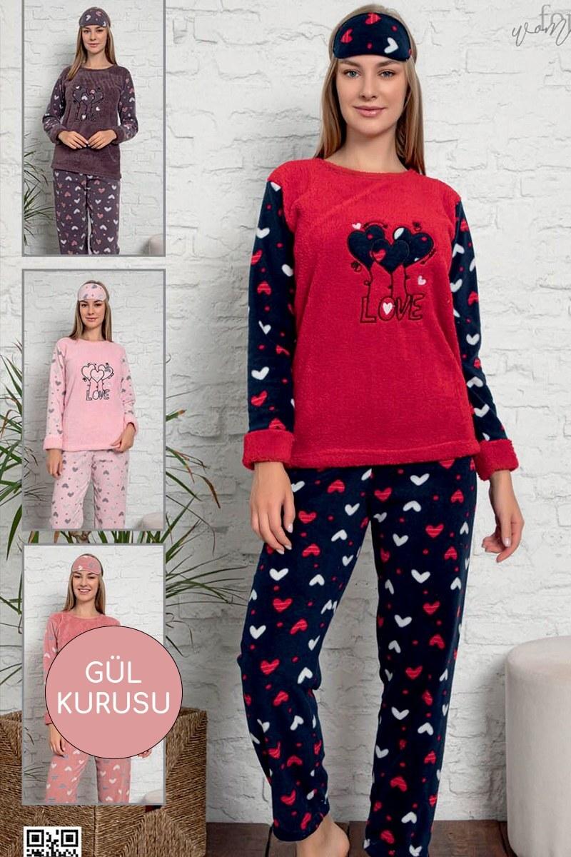 Mini Kalp Desen Gül Kurusu Welsoft Pijama Takımı