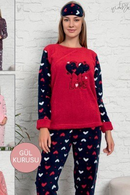 Mini Kalp Desen Gül Kurusu Welsoft Pijama Takımı - Thumbnail