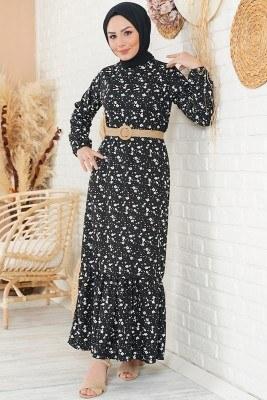 Minimalist Çiçek Desenli Siyah Elbise - Thumbnail