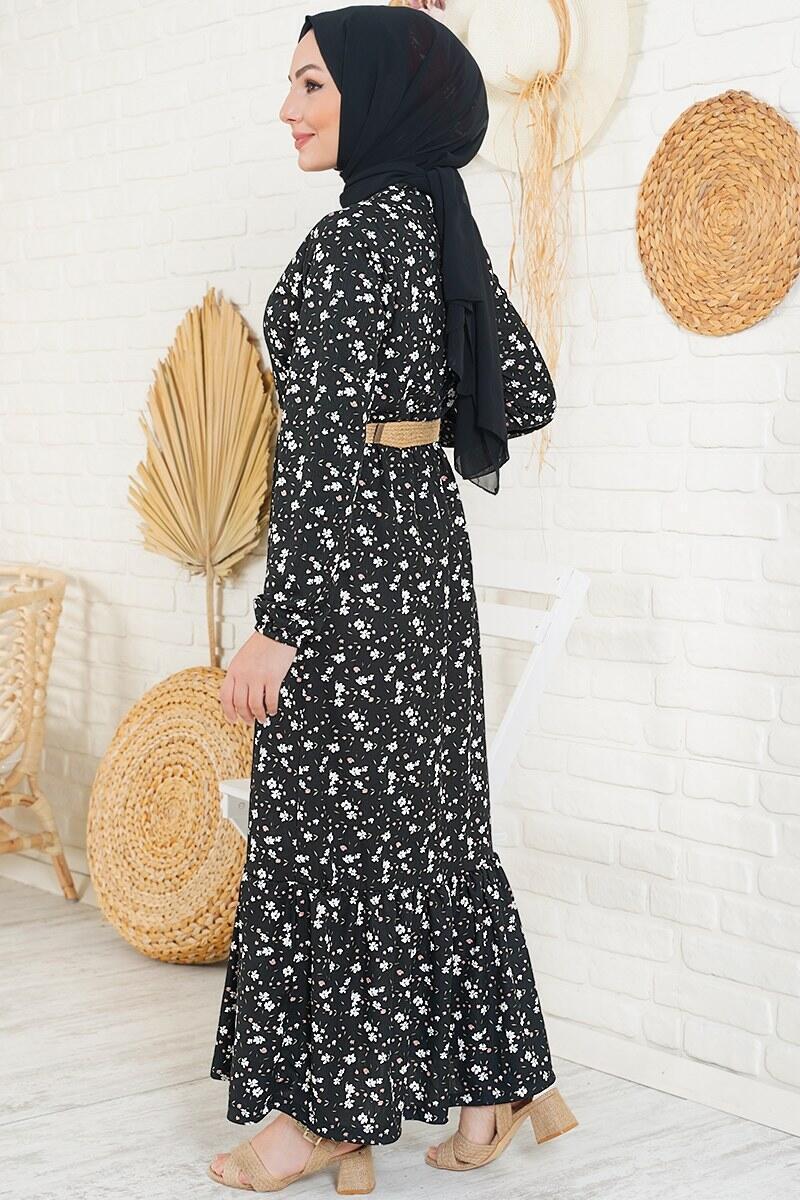Minimalist Çiçek Desenli Siyah Elbise