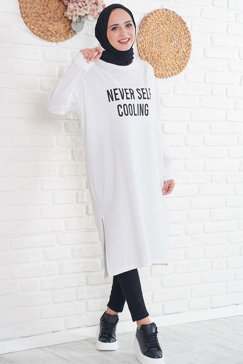 Never Self Cooling Baskılı Beyaz Uzun Tunik