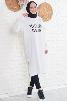 Never Self Cooling Baskılı Beyaz Uzun Tunik - Thumbnail