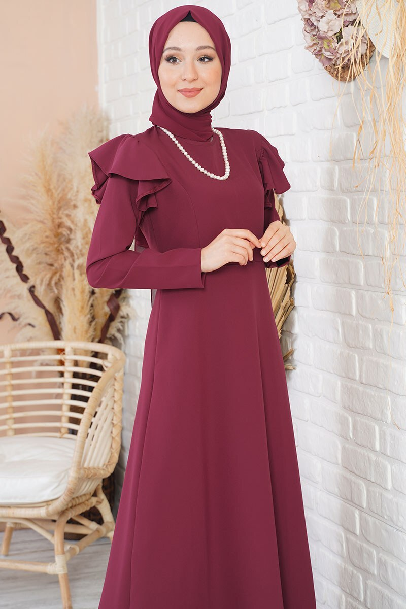 Omuz Katlı Bordo Klasik Elbise