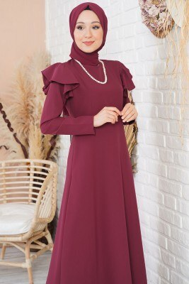Omuz Katlı Bordo Klasik Elbise - Thumbnail