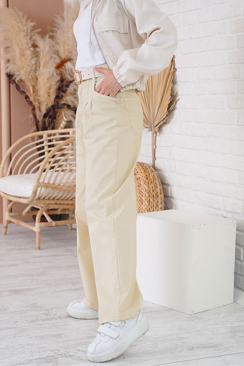 Pilise Detaylı Bol Paça Taş Jean
