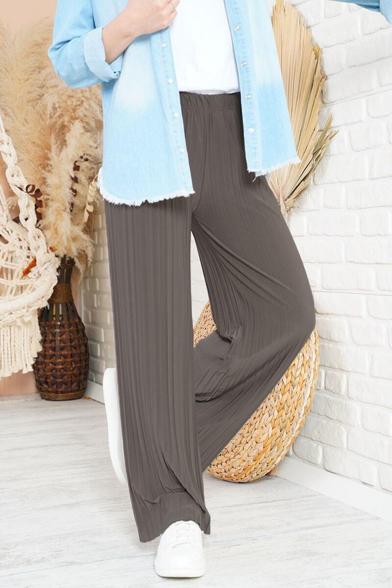Piliseli Lazer Kesim Bronz Pantolon