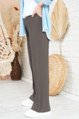 Piliseli Lazer Kesim Bronz Pantolon - Thumbnail
