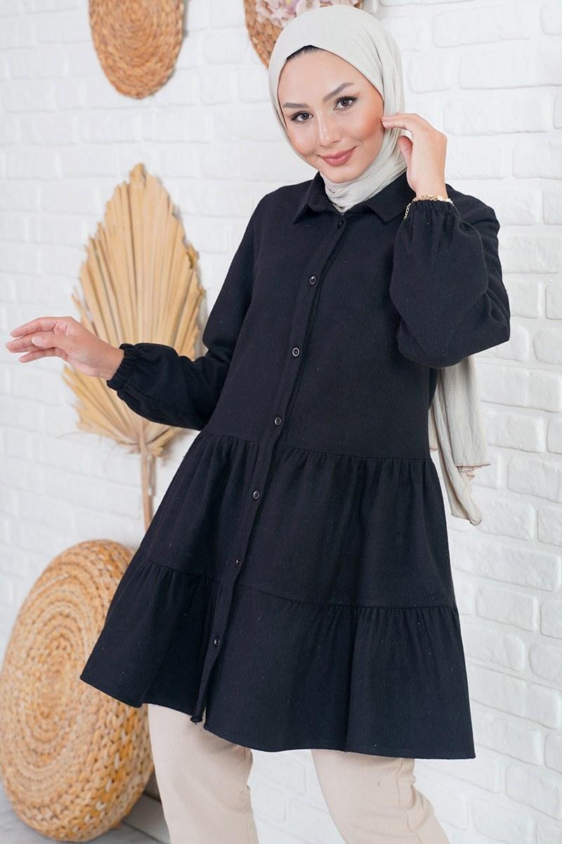 Piliseli Oduncu Siyah Gömlek Tunik