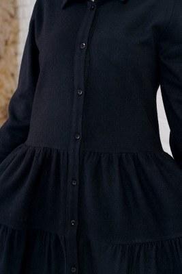 Piliseli Oduncu Siyah Gömlek Tunik - Thumbnail