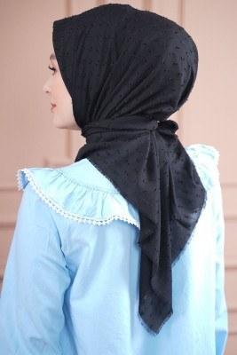 Pıt Pıt Pamuk Siyah Eşarp - Thumbnail