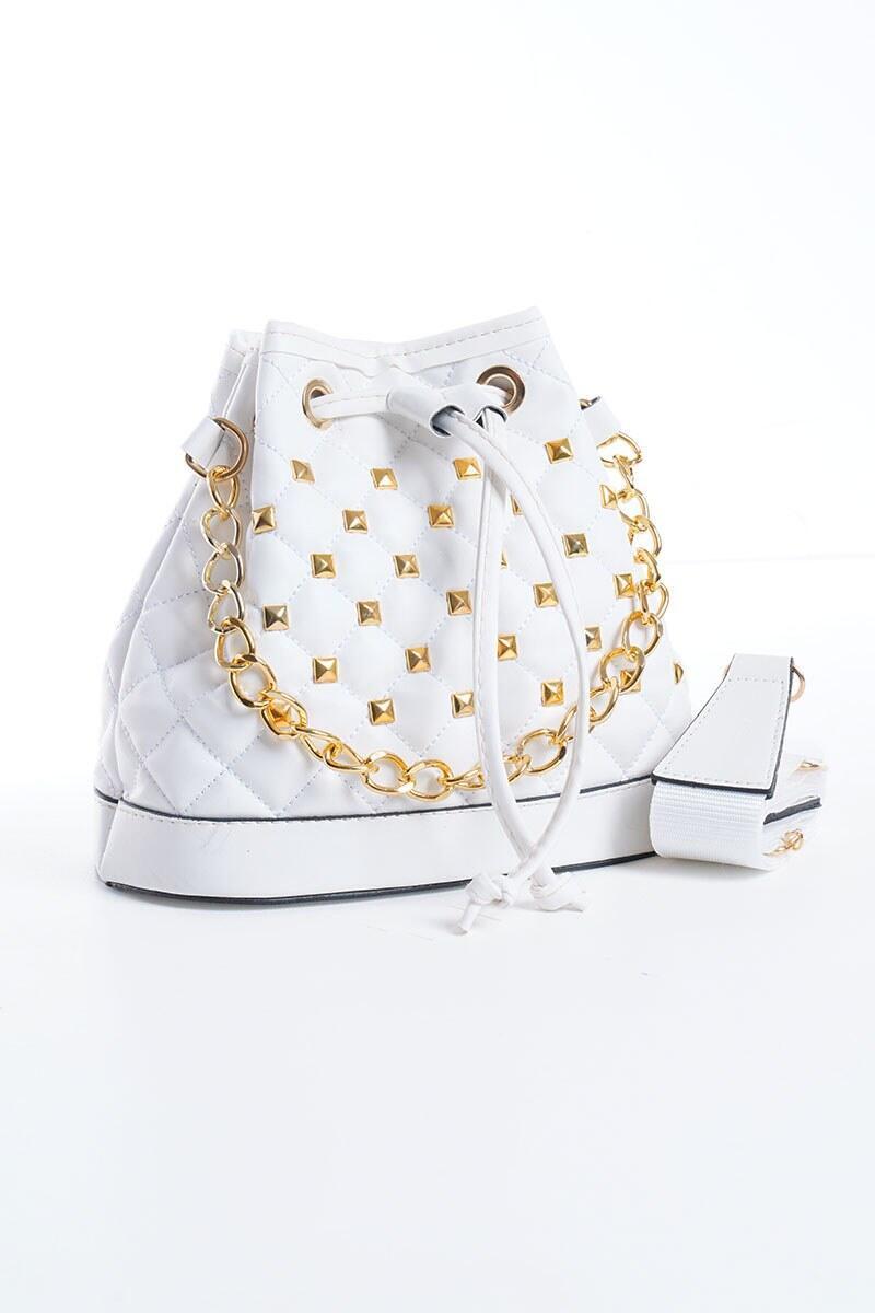 Riri Ağız Büzgülü Beyaz Çanta
