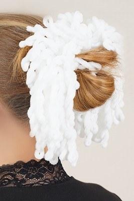 Rizado Serisi Beyaz Topuz Tokası - Thumbnail