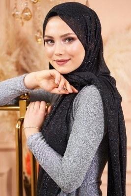 Simli Siyah Gümüş Abiye Şal - Thumbnail
