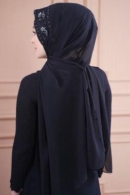 Taş İşlemeli Siyah Abiye Şal - Thumbnail