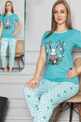 Tavşan Baskılı Kısa Kol Fuşya Pijama Takımı - Thumbnail