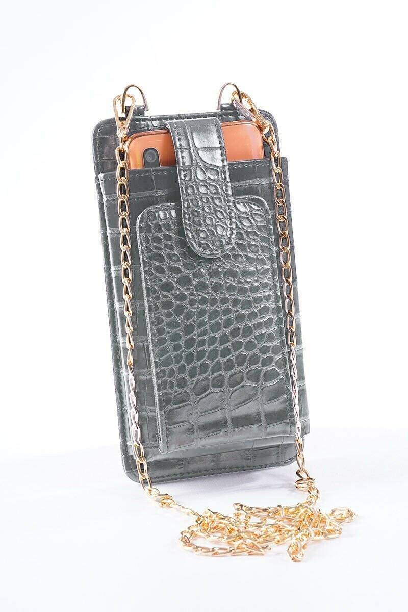 Telefon Bölmeli Gri Cüzdan Çanta