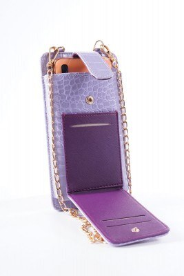 Telefon Bölmeli Lila Cüzdan Çanta - Thumbnail