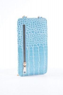 Telefon Bölmeli Mavi Cüzdan Çanta - Thumbnail
