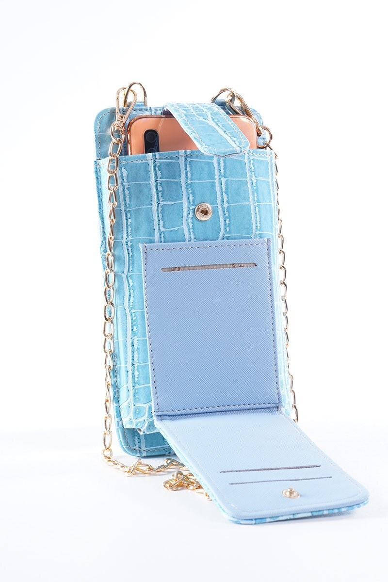 Telefon Bölmeli Mavi Cüzdan Çanta