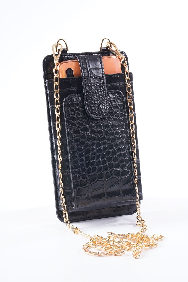 Telefon Bölmeli Siyah Cüzdan Çanta