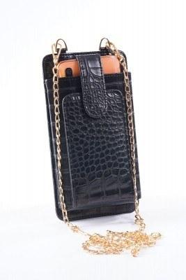 Telefon Bölmeli Siyah Cüzdan Çanta - Thumbnail