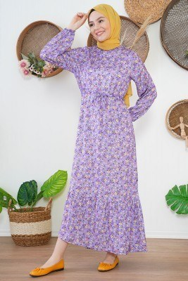 Tünel Bağcıklı Çiçekli Lila Elbise - Thumbnail