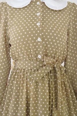 Tüvit Görünümlü Bebe Yaka Camel Elbise - Thumbnail