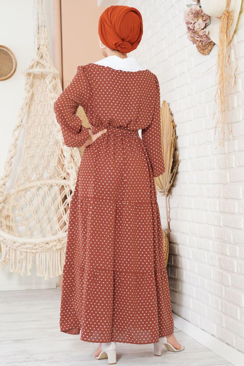 Tüvit Görünümlü Bebe Yaka Kiremit Elbise