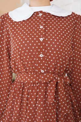 Tüvit Görünümlü Bebe Yaka Kiremit Elbise - Thumbnail