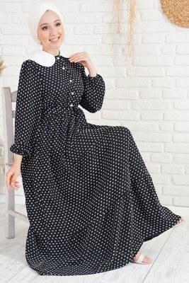 Tüvit Görünümlü Bebe Yaka Siyah Elbise - Thumbnail