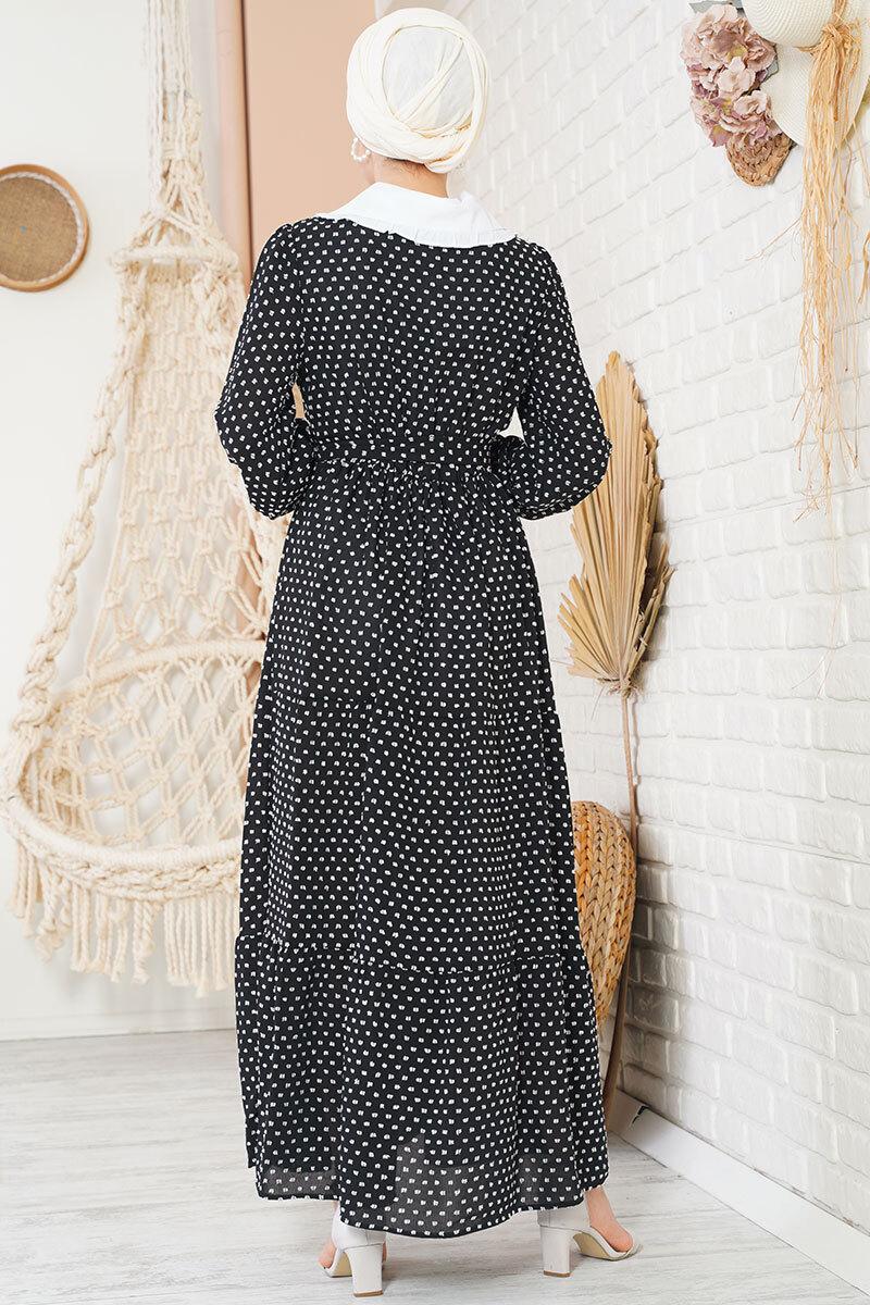 Tüvit Görünümlü Bebe Yaka Siyah Elbise