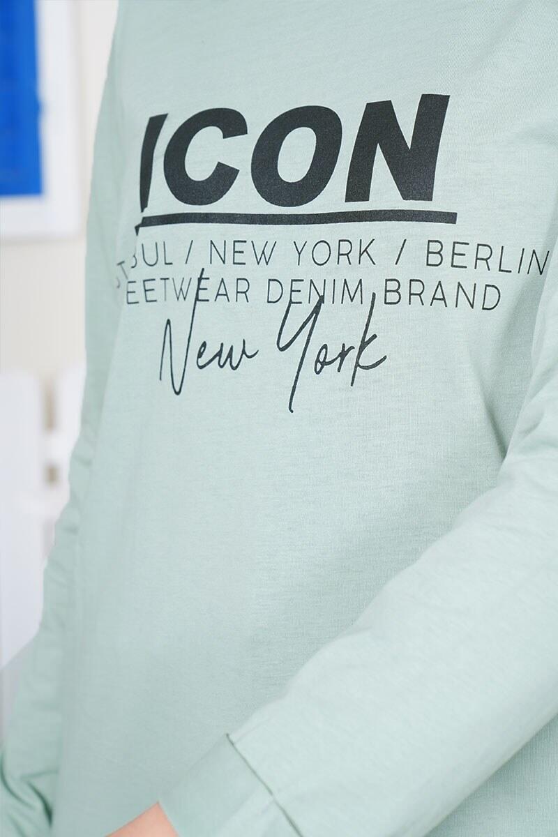 Uzun Kollu Icon New York Yazı Baskılı Nil Yeşili Tişört