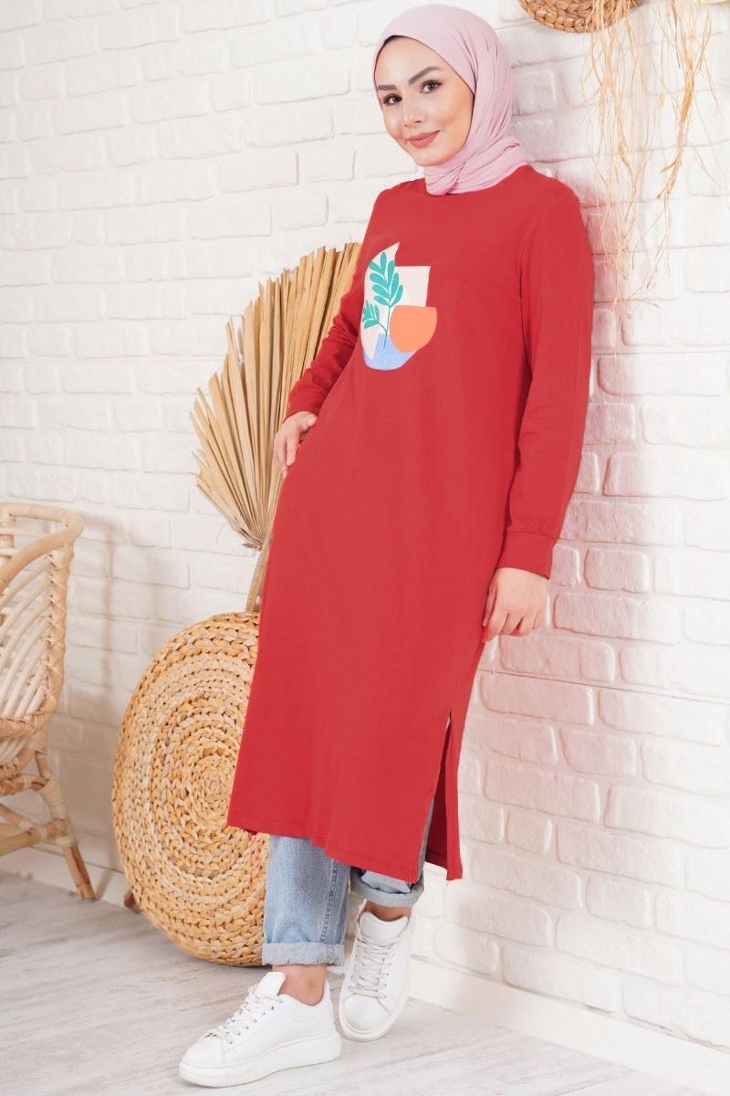 Yaprak Baskılı Kırmızı Tunik