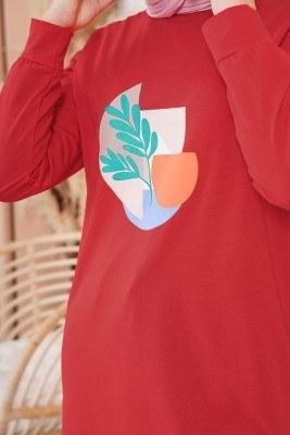 Yaprak Baskılı Kırmızı Tunik - Thumbnail
