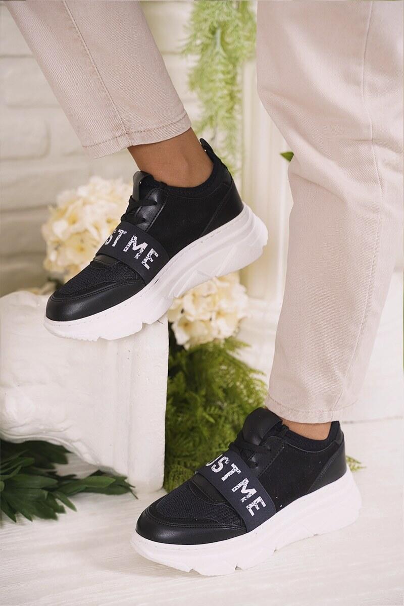 Yazı Bantlı Siyah Spor Ayakkabı